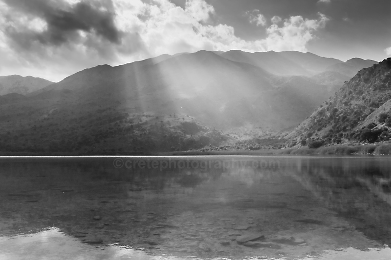 Lake Kournas black and white