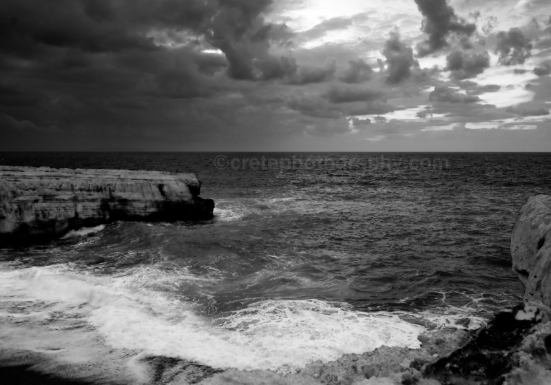 Wild sea at dusk black and white
